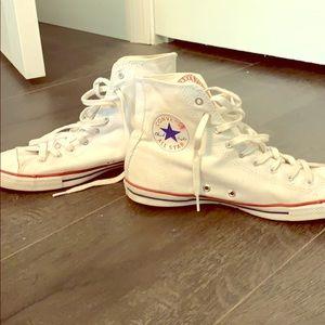 Dainty white converse high tops